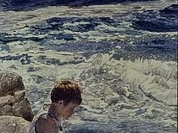 "005  BOY ON THE ROCKS, CARMEL, CALIFORNIA ACRYLIC ON CANVAS 85"" X 39"" IN A PRIVATE COLLECTION – BEL AIR, CALIFORINA"