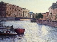 "006  ON THE MARKA CANAL (ST. PETERSBURG, RUSSIA) ACRYLIC ON CANVAS 19"" X 33"" $6000"