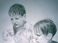 "026  THREE BOYS, A FAMILY PORTRAIT PENCIL ON PAPER 40"" X 30"" IN A PRIVATE COLLECTION – LOS ANGELES, CALIFORNIA"