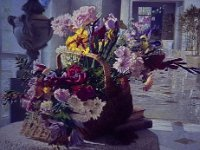 "033  STILL LIFE – BASKET OF FLOWERS ACRYLIC ON CANVAS 30"" X 40"" IN A PRIVATE COLLECTION – LOS ANGELES, CALIFORNIA"