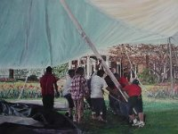 "041  RAISING A TENT AT MONTICELLO ACRYLIC ON CANVAS 18"" X 24"" $6000"