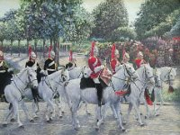 "051  QUEEN'S ROYAL MOUNTED BAND - LONDON ACRYLIC ON CANVAS 21"" X 27"" $9000"