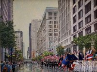 "056  MEMORIAL DAY PARADE IN CHICAGO ACRYLIC ON CANVAS 32"" X 38"" $8500"