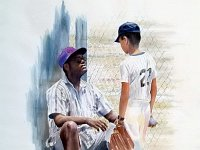 "076  YOUNG BOY WITH COACH WATERCOLOR ON PAPER 47"" X 39"" IN A PRIVATE COLLECTION – TOLUCA LAKE, CALIFORNIA"