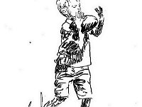 "086  BOY WITH FOOTBALL PEN AND INK ON PAPER 54"" X 39"" $750"