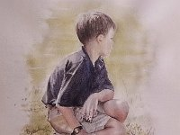 "095  BOY WITH SOCCER BALL WATERCOLOR ON PAPER 28"" X 21"" IN A PRIVATE COLLECTION – MEMPHIS, TENNESSEE"