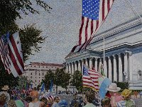 "102  EVENT AT THE NATIONAL ARCHIVE BUILDING  WASHINGTON, D.C. ACRYLIC ON CANVAS 30"" X 30"" $8000"