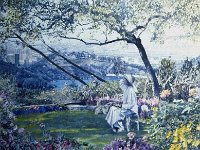 "110  SHERRY IN HER GARDEN ACRYLIC ON CANVAS 62"" X 72"" IN A PRIVATE COLLECTION – BEL AIR, CALIFORNIA"