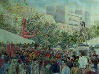"121  HOMECOMING CELEBRATION - USC WATERCOLOR ON PAPER 54"" X 48"" IN A PRIVATE COLLECTION AT USC – LOS ANGELES, CALIFORNIA"